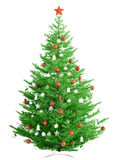 Christmas fir tree isolated 3d render. Christmas fir tree with red and white baubles isolated over white 3d render Royalty Free Stock Photo