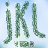 Christmas fir tree letters. And figures typeface vector  font symbols Royalty Free Stock Photo