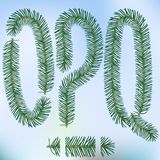 Christmas fir tree letters. And figures typeface vector  font symbols Stock Photo