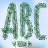 Christmas fir tree letters. And figures typeface vector  font symbols Royalty Free Stock Photography
