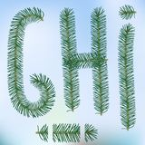 Christmas fir tree letters. And figures typeface vector  font symbols Stock Photos