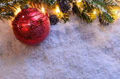 Christmas fir tree with lights Stock Images