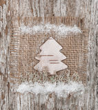 Christmas fir-tree made of birch bark stock photography