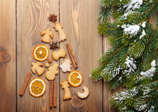 Christmas fir tree made of spices and gingerbread cookies Stock Photos