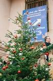 Christmas fir tree with marche de Noel Christmas Stock Photo