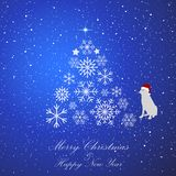 Christmas fir tree. Merry Christmas and Happy New Year holiday celebration. Christmas snow. Snowfall. Winter is coming. Falling sn. Owflakes on blue background Stock Image