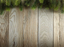 Free Christmas Fir Tree On Wood Texture. Background Old Panels Royalty Free Stock Photo - 37924065