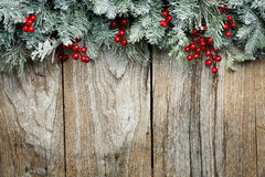 Christmas Fir Tree On Wooden Background Royalty Free Stock Image