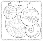 Christmas fir tree ornament coloring page. Adult or teen coloring page with Christmas or New Year doodle illustration. Vector coloring card for winter holidays Stock Photography