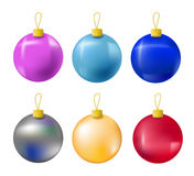 Christmas fir tree ornament isolated on white. Christmas tree balls in pink, light blue, dark blue, red, gold and silver colors. Realistic fir tree ornament Stock Photo