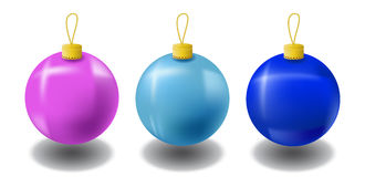 Christmas fir tree ornament isolated on white. Christmas fir tree ball. S in pink, light blue, dark blue colors. Realistic fir tree ornament with shadow. Vector Stock Photography