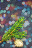 Christmas fir tree over denim Royalty Free Stock Images