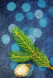 Christmas fir tree over denim Stock Images