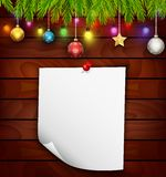 Christmas fir tree with paper and christmas decorations Royalty Free Stock Photography