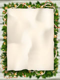 Christmas fir tree with paper. EPS 10. Christmas fir tree with paper and christmas decorations. EPS 10 vector file included Royalty Free Stock Photos