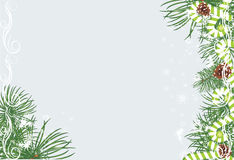 Christmas fir tree with pine cones and candy canes. On the light blue background. Illustration Royalty Free Stock Photos