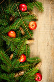 Christmas fir tree with pinecones and apples Stock Image