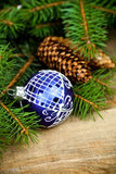 Christmas fir tree with pinecones and decoration Royalty Free Stock Photos
