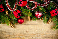 Christmas fir tree with pinecones and decorations Royalty Free Stock Photos