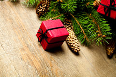 Christmas fir tree with pinecones and decorations Royalty Free Stock Photo