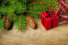 Christmas fir tree with pinecones and decorations Royalty Free Stock Photography