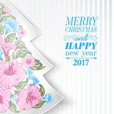 Christmas fir tree.. Christmas fir tree with pink tropical flowers inside. Happy new year card design. Vector illustration Royalty Free Stock Photo