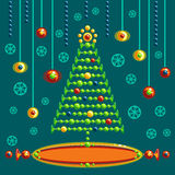 Christmas fir-tree postcard. Christmas beads made firtree postcard stock illustration