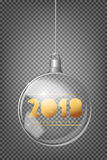 2018 Christmas fir tree and realistic transparent silver Christmas ball on a light abstract background Stock Image