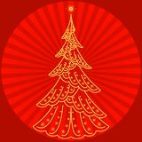 Christmas fir-tree on red Royalty Free Stock Photos