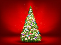 Christmas fir tree on red. EPS 10. Vector file included Stock Photo
