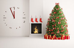 Christmas fir tree in the room with big clock. Christmas fir tree in the room with fireplace and big clock Stock Photo
