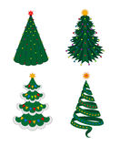Christmas fir-tree set. Set of beautiful green Christmas trees with stars on top and decorated with colorful garlands of lights and flags on the white background Royalty Free Stock Photos