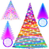 Christmas Fir Tree Set Color New Year Abstract Stock Photography