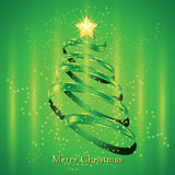 Christmas fir tree silhouette. Made from green twisted tape. Vector illustration Stock Photo