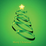Christmas fir tree silhouette. Made from green twisted tape. Vector illustration Stock Image