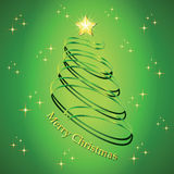 Christmas fir tree silhouette. Made from green twisted tape. Vector illustration Stock Images