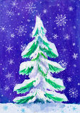 Christmas fir tree with snow on dark, watercolor painting on paper Stock Photography