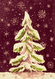 Christmas fir tree with snow on dark, watercolor painting on paper Stock Photo