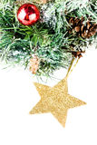 Christmas  fir tree, snow and decorations isolated  on white bac Stock Photo
