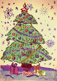 Christmas fir tree with snow, watercolor painting on paper Stock Photos