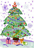 Christmas fir tree with snow, watercolor painting on paper Royalty Free Stock Image