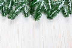 Christmas fir tree with snow on white wooden background. Free space frame Royalty Free Stock Photography