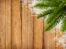 Christmas fir tree with snow on wooden board background Royalty Free Stock Photos