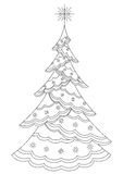 Christmas fir-tree with snowflakes, contours. Christmas fir-tree with star and snowflakes, holiday symbol, isolated, contours Stock Photography