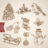Christmas fir tree snowman bird candle sldge retro vector. Spruced fir tree snowman bird candle sldge. Christmas New Year handdrawn engraving style template Stock Photo
