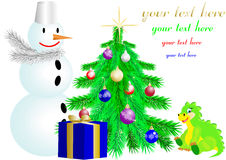 Christmas fir tree and snowman and dragon Royalty Free Stock Photo