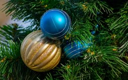 Christmas fir tree sparkling ball decoration royalty free stock photos