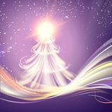 Christmas fir-tree. Christmas fir-tree with sparks and glow waves over bright backgriund. Vector illustration Royalty Free Stock Photography