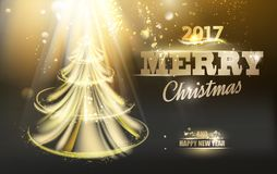 Christmas fir tree. Christmas fir-tree with sparks and glow waves over dark black backgriund. Vector illustration stock illustration