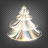 Christmas fir tree. Christmas fir-tree with sparks and glow waves over transparent background. Vector illustration Royalty Free Stock Images